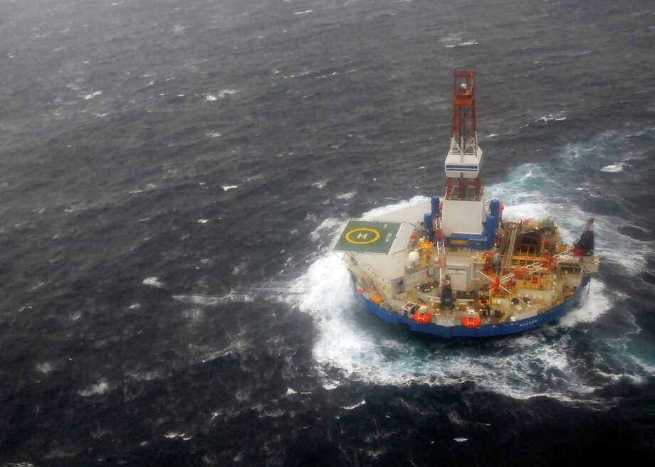 The mobile drilling unit Kulluk is towed in heavy seas 116 miles off the Alaska coast in 2012.  Scientific data on the Arctic Ocean is growing but remains inadequate. Photo: HOPD / U.S. Coast Guard
