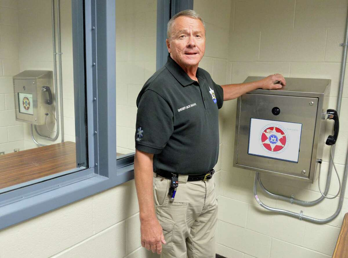 Rensselaer County Sheriff Jack Mahar shows off their new remote video visitation system during a news conference at the Rensselaer County Jail Tuesday July 29, 2014, in Troy, NY. (John Carl D'Annibale / Times Union)