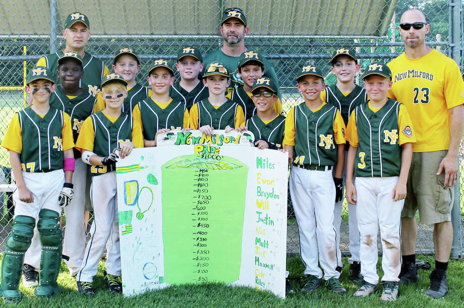 The New Milford Pride 10-year-old youth baseball team has been demonstrating concern for their fellow residents with an ongoing 'hit-a-thon' fundraiser organized by player mom Julie Pokrinchak. Contributing their baseball talents to the cause are, from left to right, Michael Muller, Will Granata, Matt Sheedy, Evan Lindner, Jack Coloneri, Braydon Stellato and Miles Pokrinchak, and, middle row, Maxwell Gomes, Riley Corgan, Cole Dickenson, Nick Tomasello and Justin LeClair. The team is coached by, from left to right, Len Tomasello, John Stellato and Bill Granata.  Courtesy of Kirk Pokrinchak Photo: Norm Cummings / The News-Times