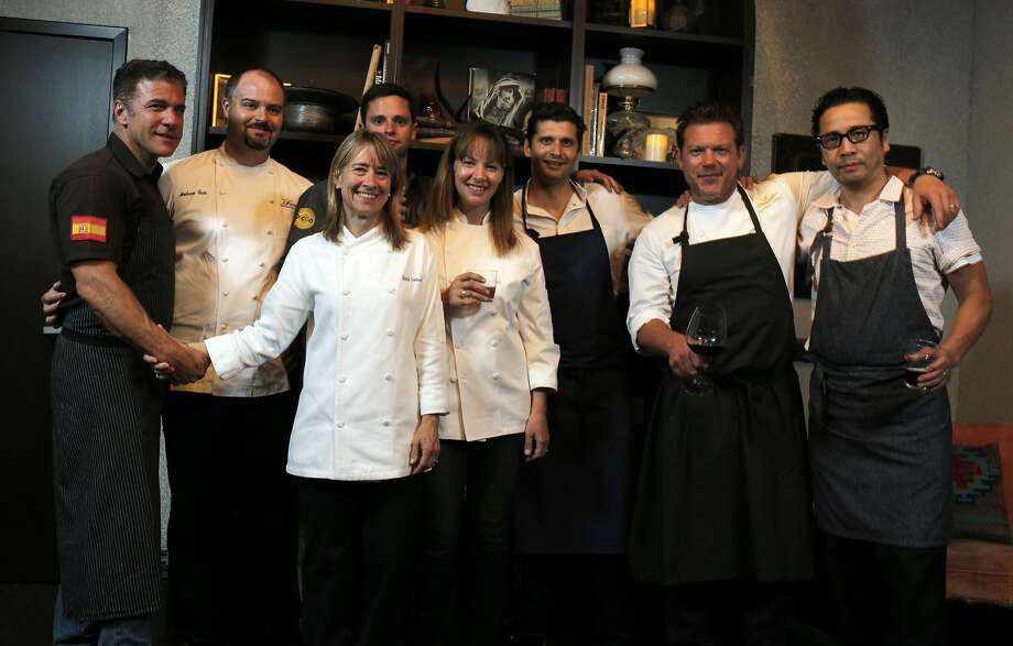 Michael Chiarello (left), Andrew Cain, Emily Luchetti, Jared Rogers, Jennifer Puccio, Nico Delaroque, Tyler Florence and Shotaro Kamio. Photo: Carlos Avila Gonzalez, The Chronicle