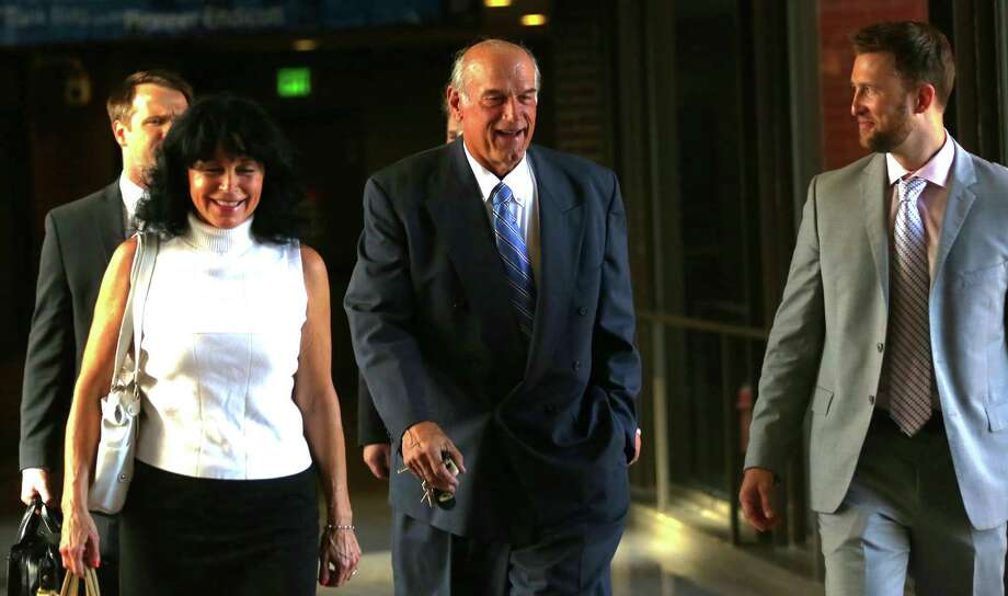 Former Minnesota Gov. Jesse Ventura, center, shown arriving at court with his wife Terry last week, was not in court for Tuesday's verdict favoring him. Photo: Jim Gehrz, MBO / The Star Tribune