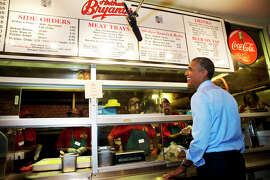 President Barack Obama orders barbecue at Arthur Bryant's Barbeque restaurant in Kansas City, Mo.