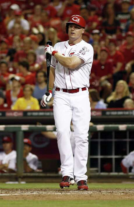 Cincinnati Reds' Jay Bruce holds his bat after striking out by Washington Nationals pitcher Rafael Soriano in the ninth inning of a baseball game, Friday, July 25, 2014, in Cincinnati. The Nationals won 4-1. (AP Photo/David Kohl) Photo: David Kohl, FRE / FR51830 AP