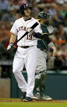 July 29: A's 7, Astros 4  The Astros let a three-run lead slip away in the ninth inning as the A's roared back to tie the series by stealing the second game of the three-game set in Houston.  Record: 43-64. Photo: Karen Warren, Houston Chronicle