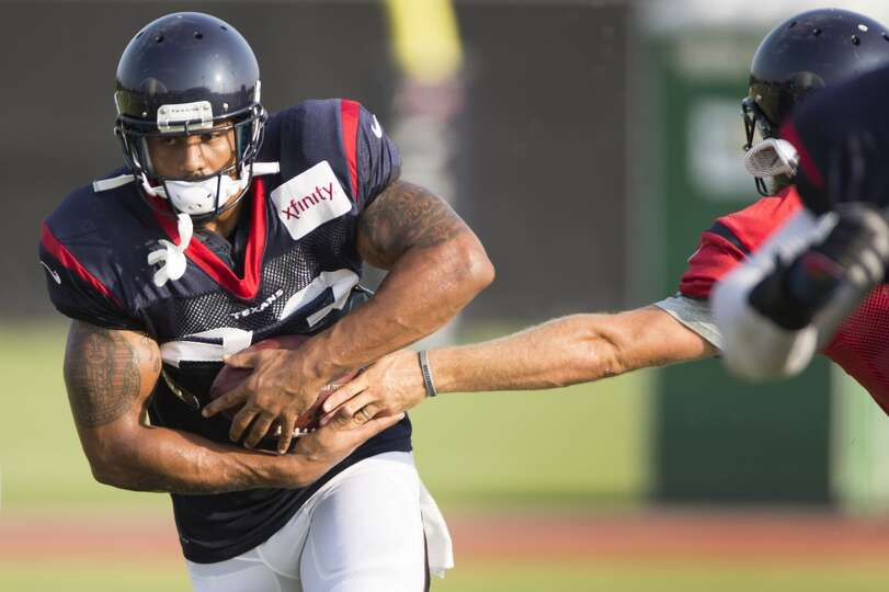 Texans running back Arian Foster (23) takes a handoff from quarterback Ryan Fitzpatrick.