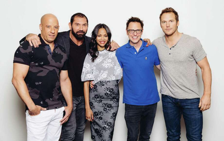 "In this Saturday, July 19, 2014 photo, from left, guardian cast members, Vin Diesel, Dave Bautista, Zoe Saldana, director James Gunn, and Chris Pratt pose for a portrait at Disney Studios during press day for ""Guardians of the Galaxy,"" in Burbank, Calif. The movie releases on Friday, Aug. 1, 2014.  (Photo by Casey Curry/Invision/AP) ORG XMIT: CACC106 Photo: Casey Curry / Invision"