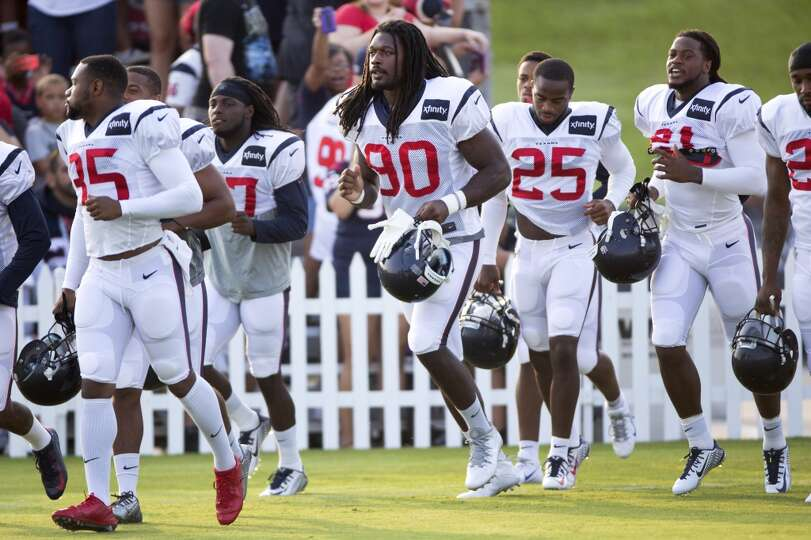 Texans defensive players Houston Texans Eddie Pleasant (35), Jadeveon Clowney (90), Kareem Jackson (