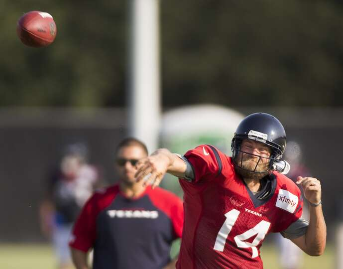 Houston Texans quarterback Ryan Fitzpatrick throws a pass during Texans training camp at the Methodi