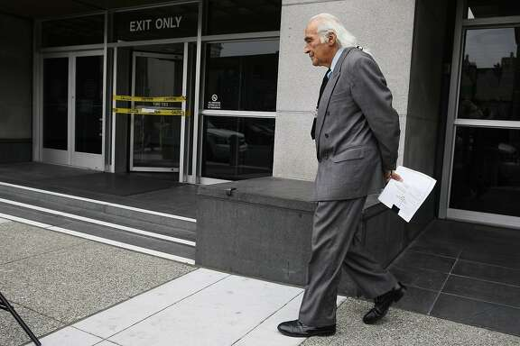 "Tony Serra prepares takes questions from the media after Raymond ""Shrimpboy"" Chow's arraignment on Wednesday, July 30, 2014 in San Francisco, Calif. Serra and Briggs have entered a not guilty plea during Raymond ""Shrimpboy"" Chow's arraignment."