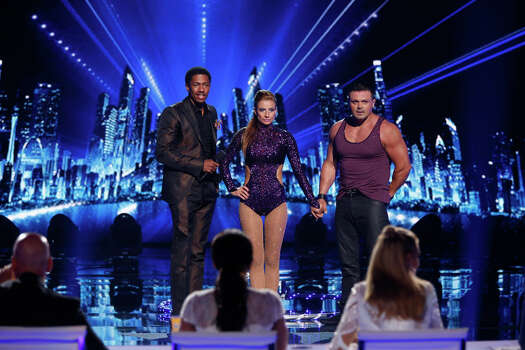 AMERICA'S GOT TALENT -- Episode 910 -- Pictured: (l-r) Nick Cannon, Valo & Bobby -- (Photo by: Eric Liebowitz/NBC) Photo: NBC, Eric Liebowitz/NBC / 2014 NBCUniversal Media, LLC.