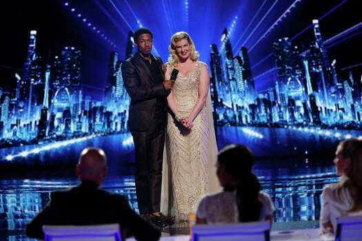 AMERICA'S GOT TALENT -- Episode 910 -- Pictured: (l-r) Nick Cannon, Emily West -- (Photo by: Eric Liebowitz/NBC) Photo: NBC, Eric Liebowitz/NBC / 2014 NBCUniversal Media, LLC.