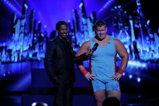 AMERICA'S GOT TALENT -- Episode 910 -- Pictured: (l-r) Nick Cannon, JD Anderson -- (Photo by: Eric Liebowitz/NBC) Photo: NBC, Eric Liebowitz/NBC / 2014 NBCUniversal Media, LLC.
