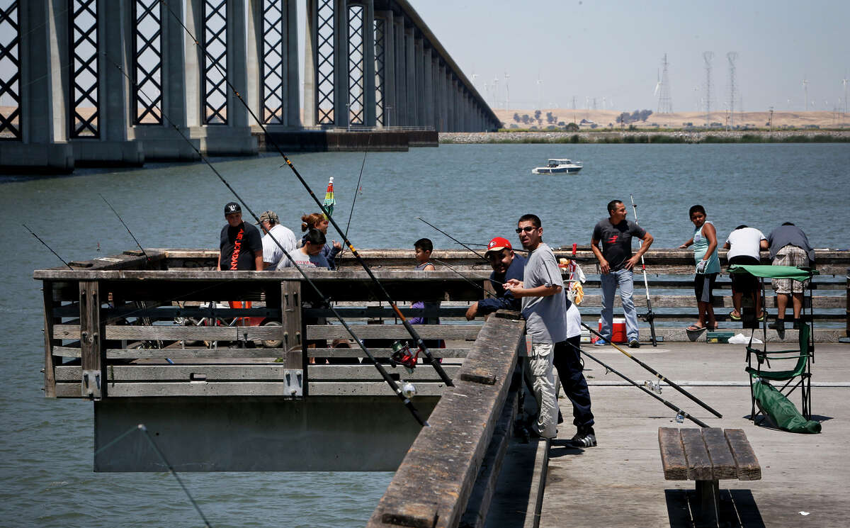 Anglers fish off the Antioch Oakley pier in the San Joaquin River last summer. The California Department of Fish and Wildlife says fishermen can expect the same amount of catch this year.
