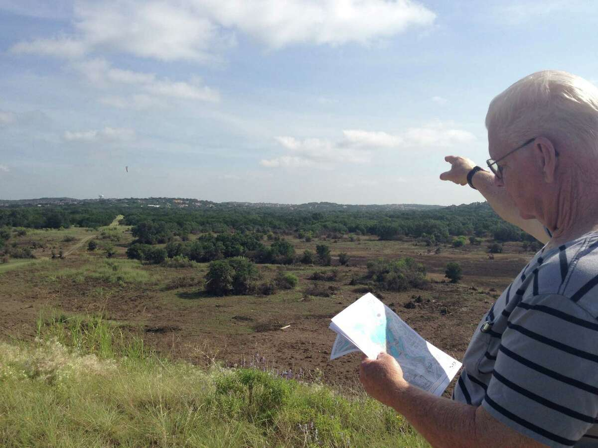 David Walsworth, chairman of the Wilderness Oak Alliance Panther Springs Park Committee and former president of the Wilderness Oak Alliance, looks over a site map and points out the place of the future trails.Click through the slideshow to get a glimpse of the area.