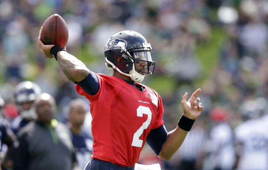 Terrelle Pryor passes the ball at Seahawks training camp on Friday, July 25, 2014. Photo: Associated Press