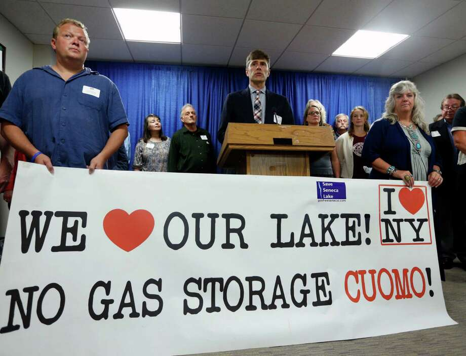 Michael Warren Thomas speaks Wednesday during a news conference in Albany, N.Y., calling for Gov. Andrew Cuomo to deny permits for natural gas and propane storage facilities along winemaking areas of Seneca Lake. Photo: Mike Groll, STF / AP
