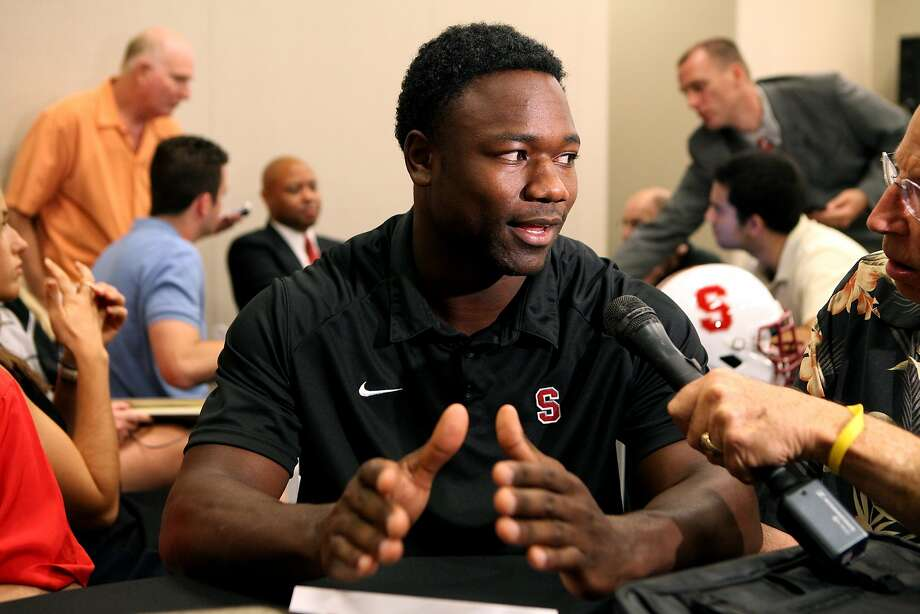 Stanford wide receiver Ty Montgomery speaks to the media during the annual Bay Area College Football media day at Levi's Stadium on Wednesday, July 30, 2014, in Santa Clara, Calif. (AP Photo/Alex Washburn) Photo: Alex Washburn, Associated Press