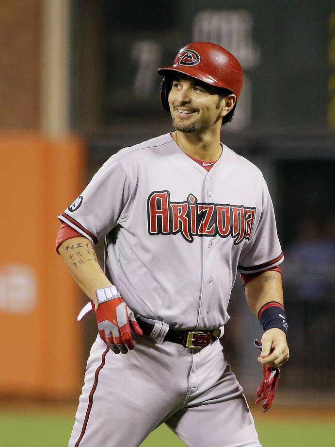 Arizona Diamondbacks' Eric Chavez smiles after hitting a single off San Francisco Giants starting pitcher Yusmeiro Petit in the ninth inning of their baseball game against the Arizona Diamondbacks Friday, Sept. 6, 2013, in San Francisco. San Francisco won the game 3-0 and Chavez had the only hit for the Diamondbacks. (AP Photo/Eric Risberg) Photo: Eric Risberg, STF / AP