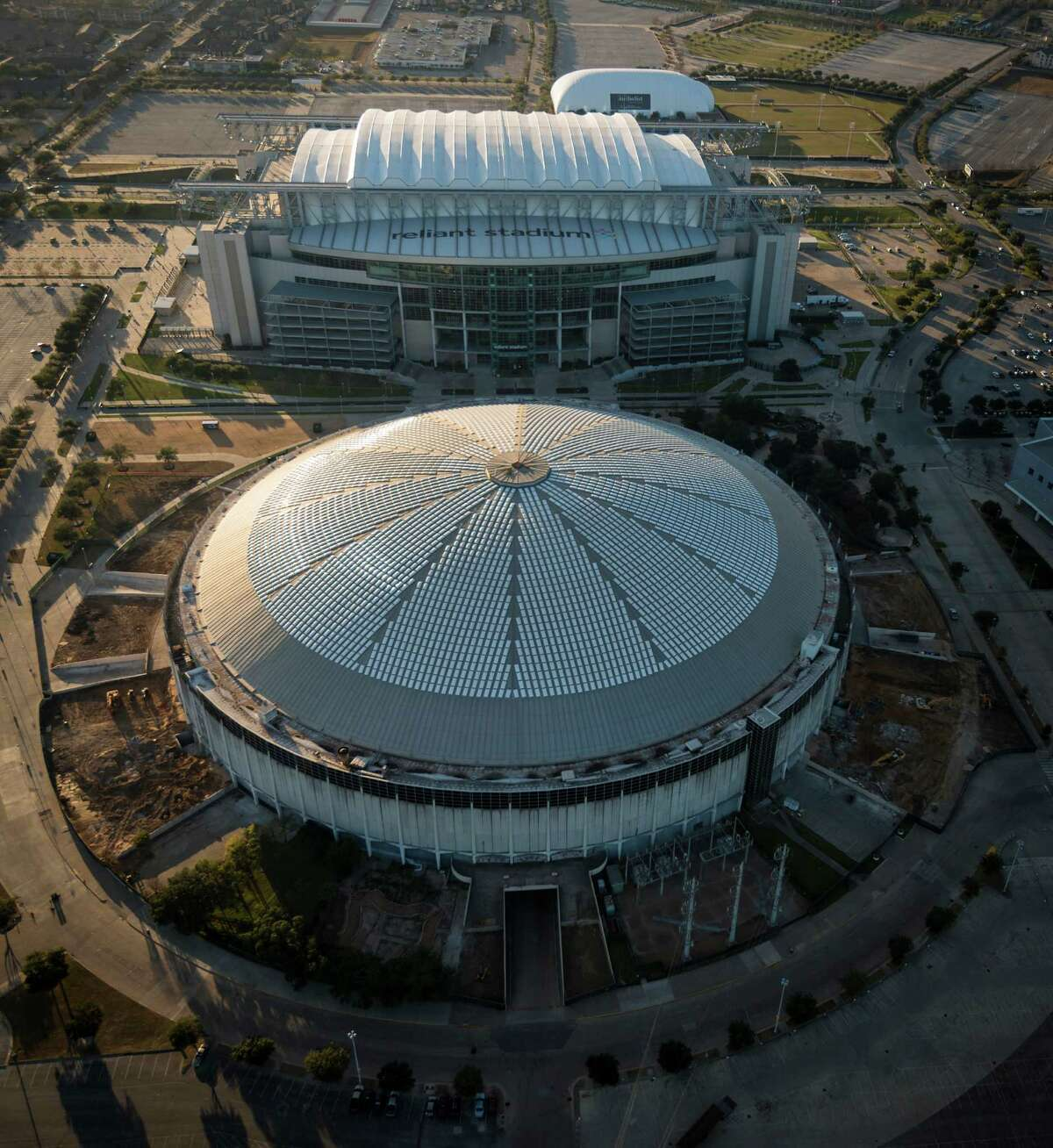 If preservationists are triumphant, the Reliant Astrodome - seen here with the Reliant Stadium - will be around for future Houstonians to enjoy.