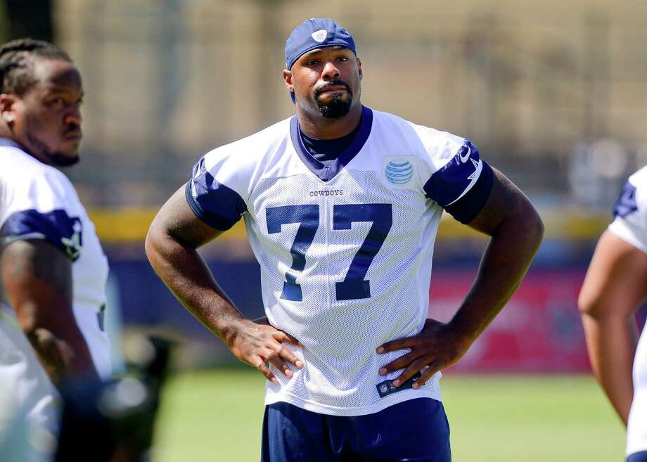 Dallas Cowboys offensive tackle Tyron Smith during Dallas Cowboy's training camp, Friday, July 25, 2014, in Oxnard, Calif. (AP Photo/Gus Ruelas) Photo: Gus Ruelas, FRE / FR157633 AP