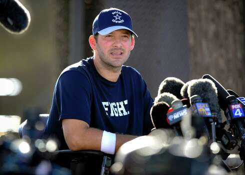 Dallas Cowboys quarterback Tony Romo gives a news conference to talk about his recovery from back surgery at the end of Dallas Cowboy's training camp, Thursday, July 24, 2014, in Oxnard, Calif. (AP Photo/Gus Ruelas) Photo: Associated Press / FR157633 AP