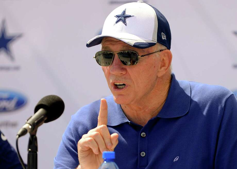 """Dallas Cowboys owner Jerry Jones speaks at the """"State of the team"""" news conference during Dallas Cowboy's training camp, Wednesday, July 23, 2014, in Oxnard, Calif. (AP Photo/Gus Ruelas) Photo: Associated Press / FR157633 AP"""