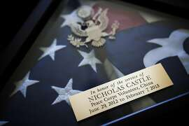 A folded flag given to Dave and Sue Castle after their son, Nick, died while serving in China as a Peace Corps volunteer, in Brentwood, Calif., April 28, 2014. The story of Nick Castle's death raises serious questions about the Peace Corps medical care and how the agency responded to a volunteer's dangerous illness. (Max Whittaker/The New York Times)
