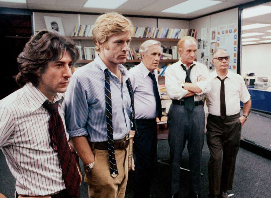 "Redford and Hoffman in ""All the President's Men"":  They were 10 years older than the men they portrayed, so they brough an entirely different atmosphere.  In the end, they played their screen persona, and it worked. Photo: Associated Press / WARNER BROTHERS"