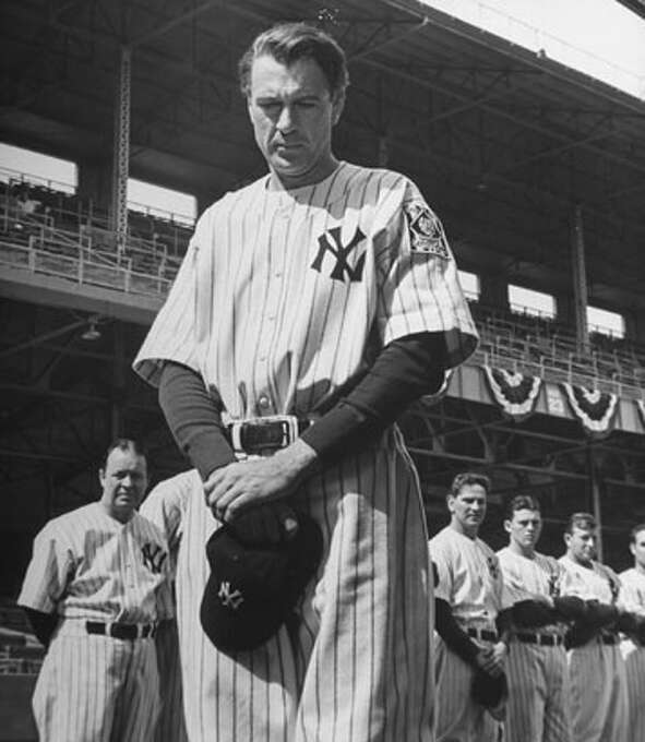 "Gary Cooper as Lou Gehrig in ""Pride of the Yankees"":  Looks like him? Close.  Sounds like him? No. Cooper played Lou Gehrig as Cooper, without the old-time NY accent that Gehrig had. Result?  Success."