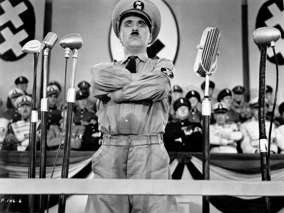 """Chaplin as Hitler in """"The Great Dictator"""":  Looks like him? Oh, yes.  Sounds like him? Sort of.  Result:  Hilarious. Photo: Handout, Sfc / HANDOUT"""
