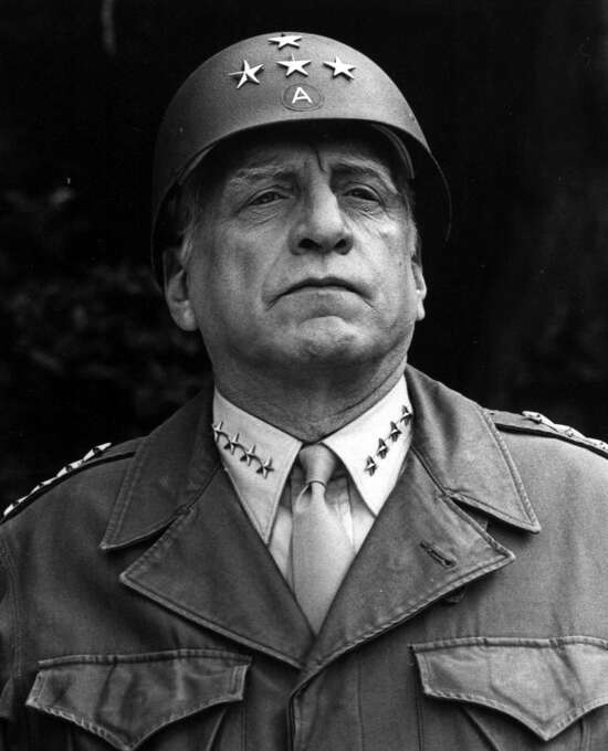"George C. Scott as ""Patton"": Looked like him?  Pretty much.  Sounded like him? No.  Result:  Triumph.  Like the best chameleonic performances, it became a channel for expressing something of the actor's own vision, personality and attitude. Photo: Associated Press / AP"