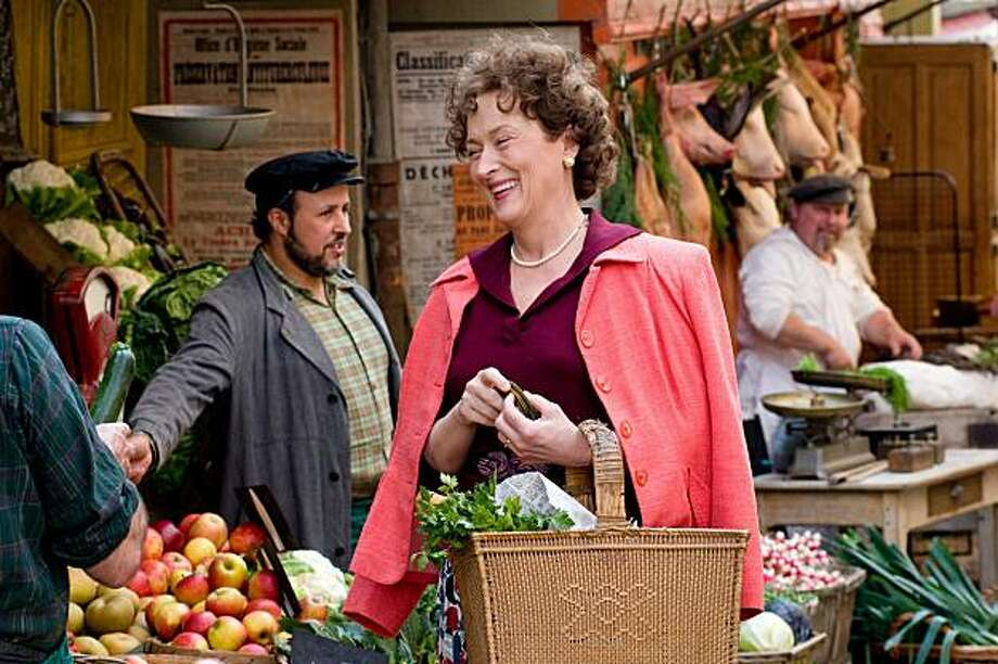 """Meryl Streep as Julia Child in """"Julie and Julia"""": Looks like her? Yes.  Sounded like her?  Yes.  Result? Triumph.  She made everyone fall in love with Julia Child by showing us her joy."""