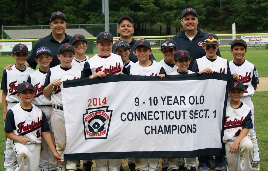 The Fairfield National Little League District all-star team of 10 year olds won the state Section 1 championship on July 23 but lost the state championship series two games to one to Ellington over the weekend. Kneeling, from left: Jonathan Fallacaro and Justin Dennett. First row, from left: Jack Andrews, Casey Woodfine, Roman DiGiacomo, Sonny Pennatto and Kyle Vaccarella. Second row, from left: Matthew Holfelder, Elliott Hyde, Zachery Broderick, Michael Scaglione, Joey D'Elia and Andrew Conklin. Top row, from left: coach Ken Woodfine, manager Michael Broderick, coach Joe Fallacaro. Photo: Contributed Photo / Fairfield Citizen