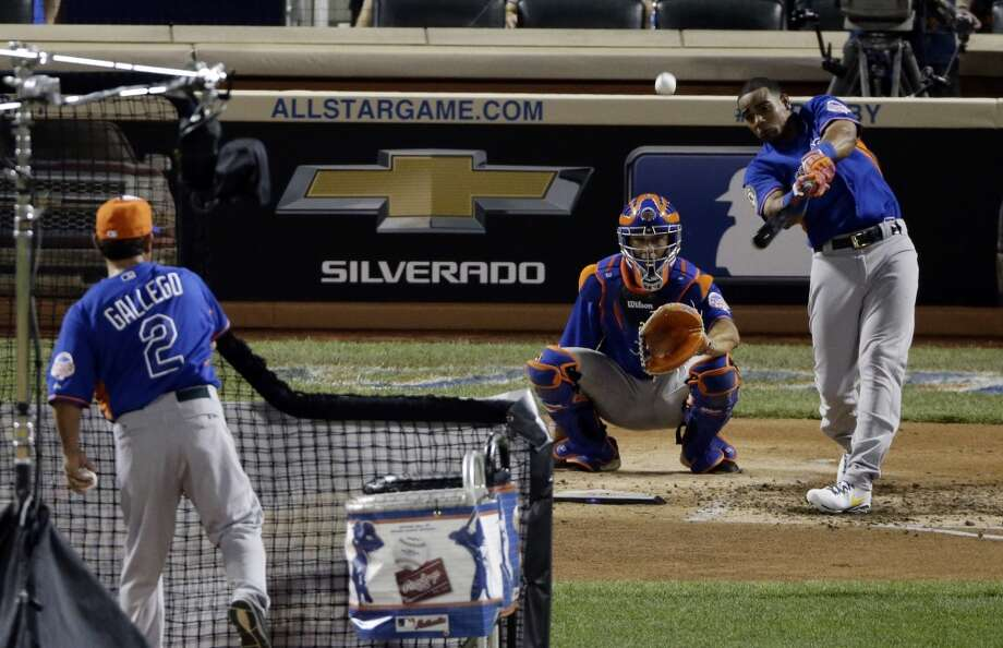 American League's Yoenis Cespedes of the Oakland Athletics hits a home run during the second round of the MLB All-Star baseball Home Run Derby, Monday, July 15, 2013, in New York. Photo: Frank Franklin II, Associated Press