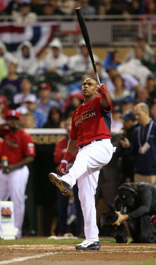 American League's Yoenis Cespedes, of the Oakland Athletics, hits during the MLB All-Star baseball Home Run Derby, Monday, July 14, 2014, in Minneapolis. Photo: Jim Mone, Associated Press