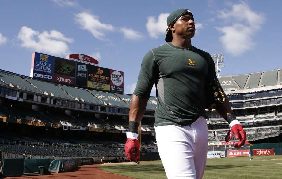 Athletics' Yoenis Cespedes, (52) as the A's prepare to take on the Houston Astros at O.co Coliseum on Tuesday July 22, 2014, in Oakland, Calif. Photo: Michael Macor, The Chronicle