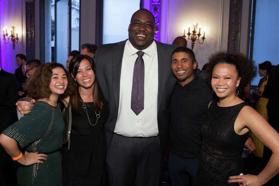 Sophia Horowitz, Stephanie Segar, Chris Gardner Jr., Chris Lyons and Dori Caminong at the GLIDE Legacy Gala in San Francisco on July 26, 2014. Photo: Drew Altizer Photography/SFWIRE, Drew Altizer Photography / © 2014 Drew Altizer