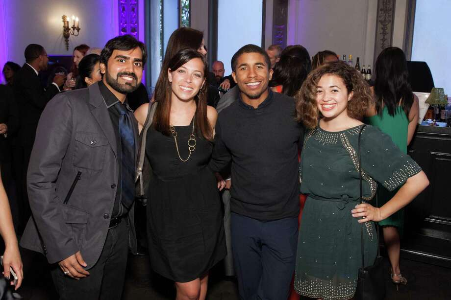 RJ Jain, Stephanie Segar, Chris Lyons and Sophia Horowitz at the GLIDE Legacy Gala in San Francisco on July 26, 2014. Photo: Drew Altizer Photography/SFWIRE, Drew Altizer Photography / © 2014 Drew Altizer