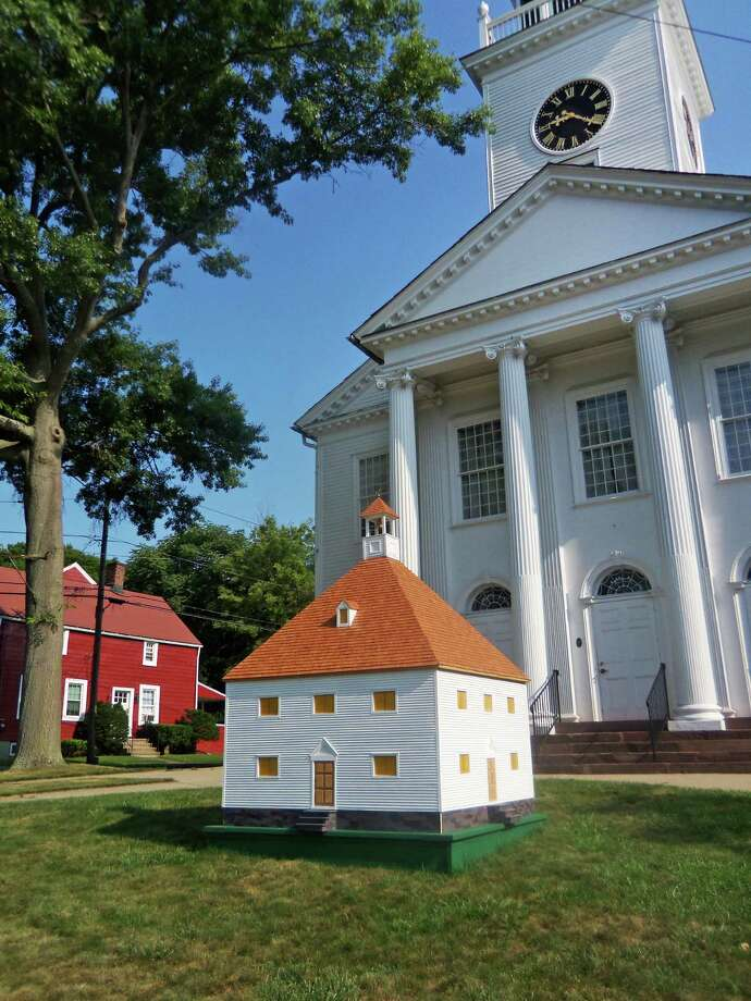 Milford's 1st Congregational Church is looking for a permanent home for its miniature reproduction of its first building, the 1639 First Meetinghouse. They're hoping that the city will come through with a location. Photo: John Burgeson / Connecticut Post