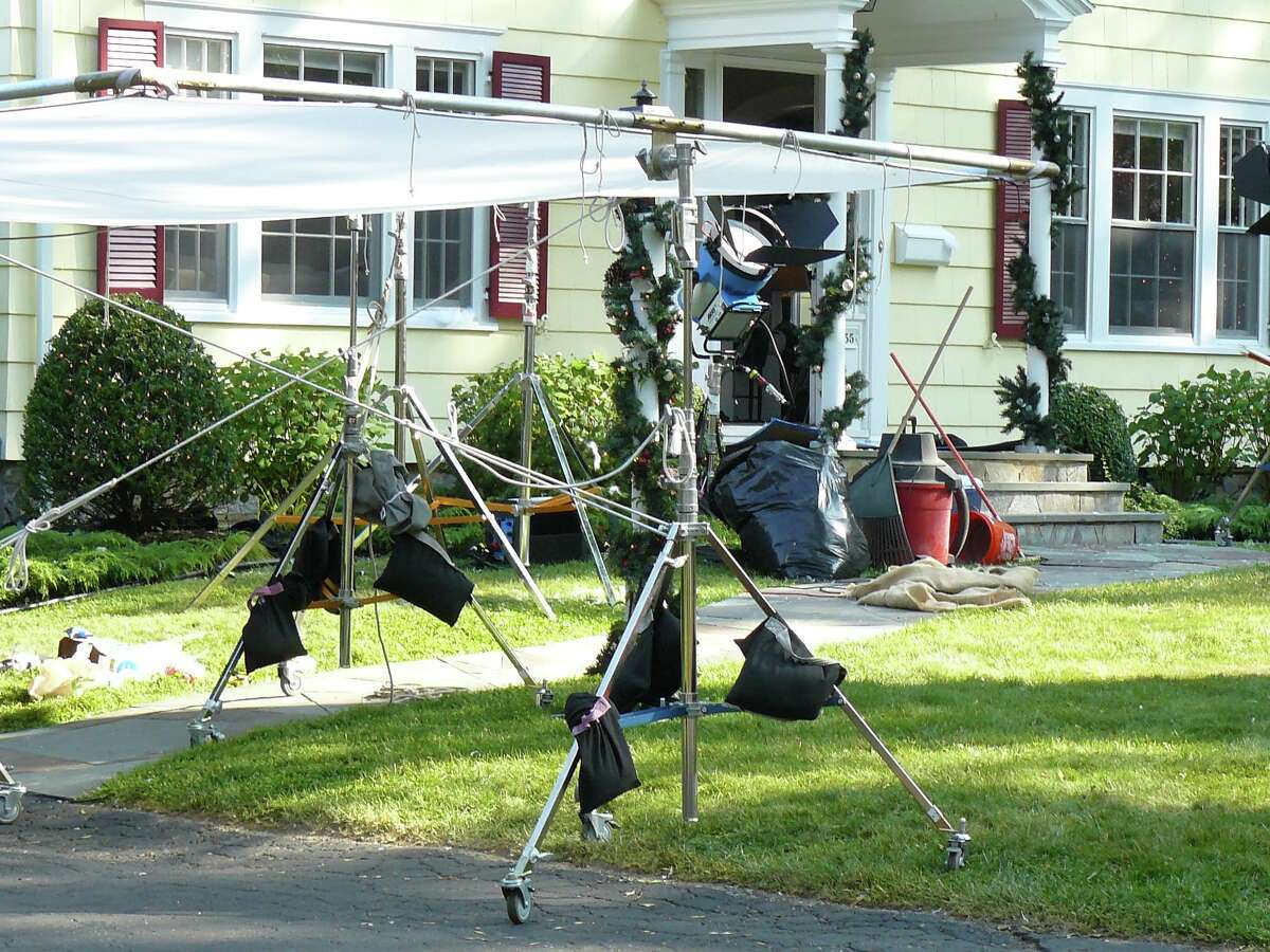 Movie crew equipment in front of the Fairfield house where actress Melissa Joan Hart of Westport and her production company were filming a Christmas-themed television movie.