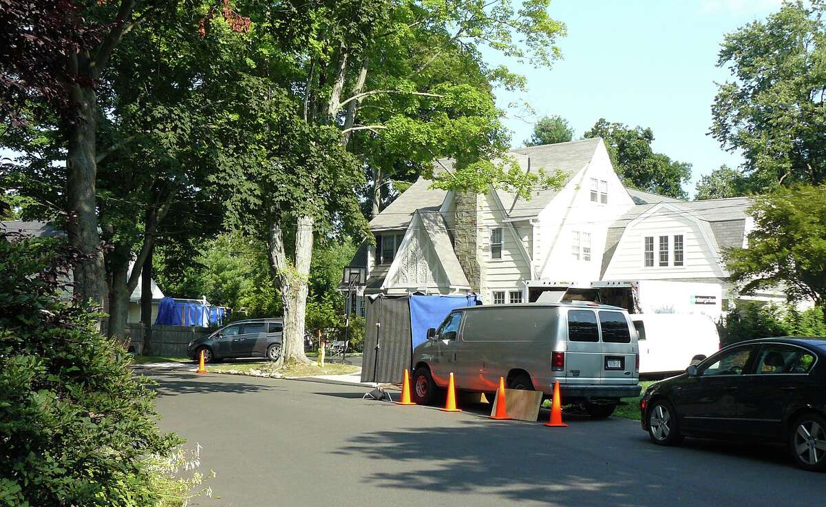 The stretch of Noyes Road in Fairfield that a movie crew used to fllm scenes for a Christmas-themed movie this week.