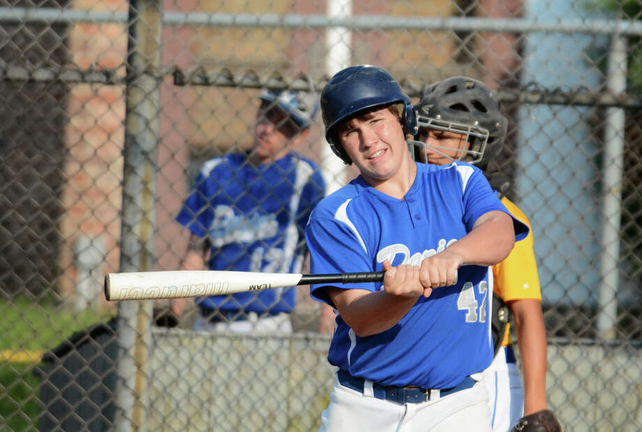 Darien catcher Cord Fox at bat during a 15U Babe Ruth baseball game against Newtown at Holahan Field in Darien on Monday, July 21. Photo: Amy Mortensen / Connecticut Post Freelance
