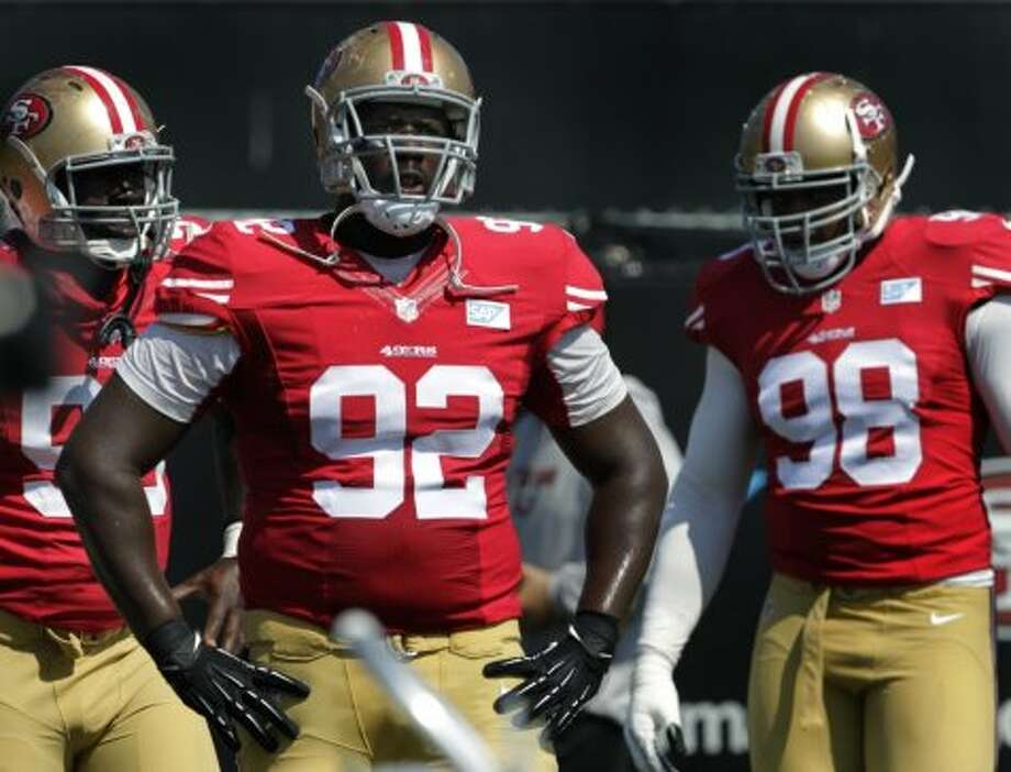 Quentin Dial (92) practices with defensive linemates during the San Francisco 49ers training camp in Santa Clara, Calif. on Tuesday, July 29, 2014. Photo: The Chronicle