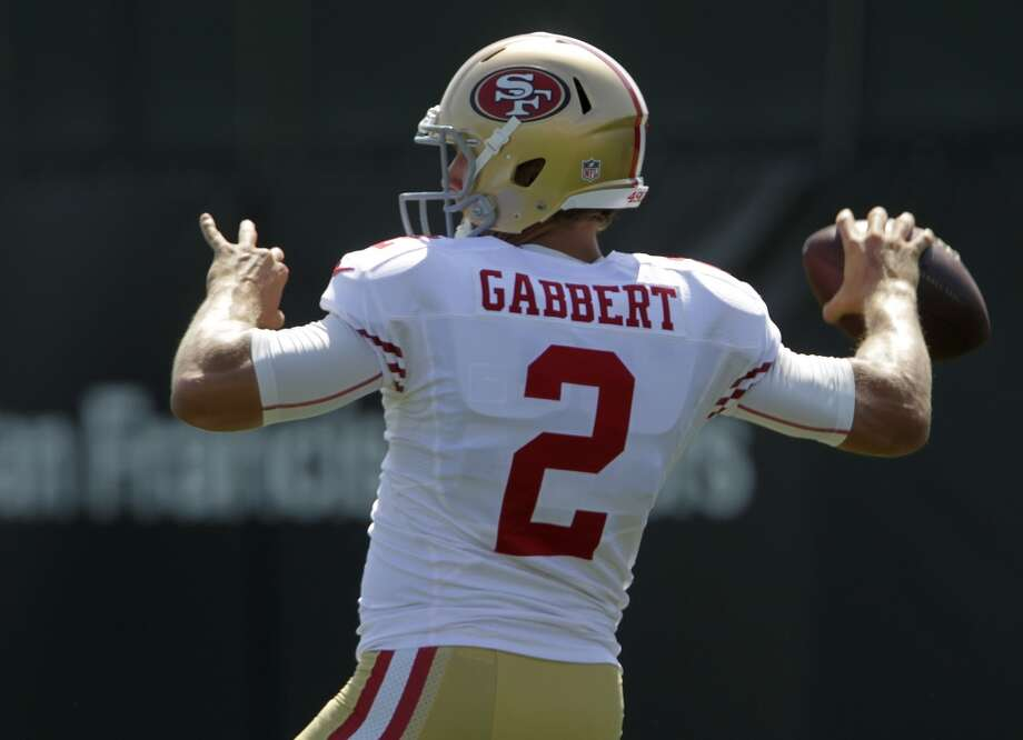Backup quarterback Blaine Gabbert throws during a passing drill at the San Francisco 49ers training camp in Santa Clara, Calif. on Tuesday, July 29, 2014. Photo: The Chronicle