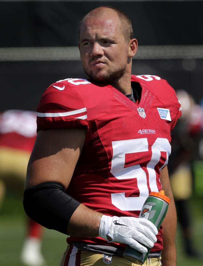 Linebacker Chris Borland stays cool during the San Francisco 49ers training camp in Santa Clara, Calif. on Tuesday, July 29, 2014. Photo: The Chronicle