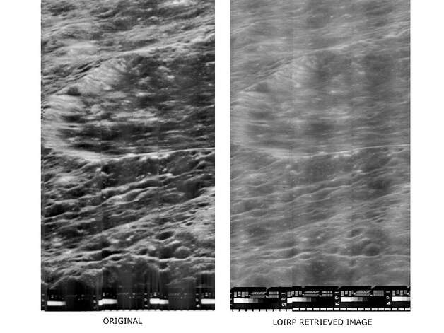 Comparison of original data (left) and data retrieved from the Lunar Orbiter Image Recovery Project. Image credit: LOIRP Photo: NASA