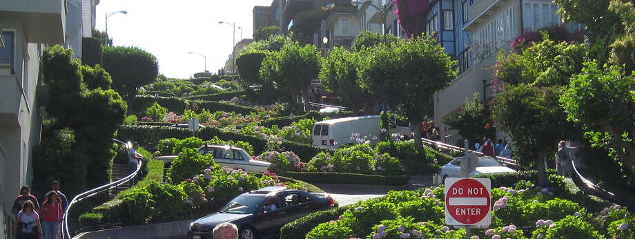 "Lombard Street is known as ""the world's most crooked street"" because of its tight curves motorists must maneuver. Photo: Photos By Tim Griffin / San Antonio Express-News"