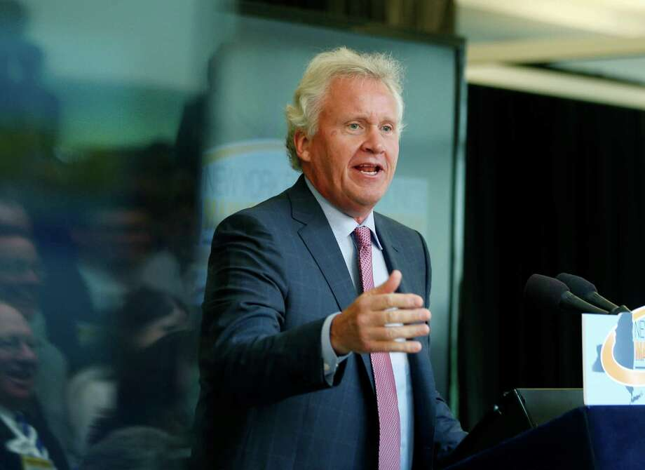 General Electric CEO Jeffrey Immelt  speaks during an economic development new conference at GE Global Research on Tuesday, July 15, 2014, in Niskayuna, N.Y.(AP Photo/Mike Groll) Photo: Mike Groll, Associated Press / Associated Press contributed