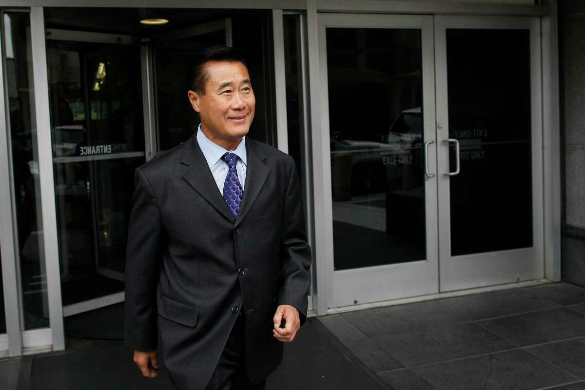 Leland Yee exits federal court after his arraignment on Thursday, July 31, 2014 in San Francisco, Calif. Yee was arraigned for racketeering charges.