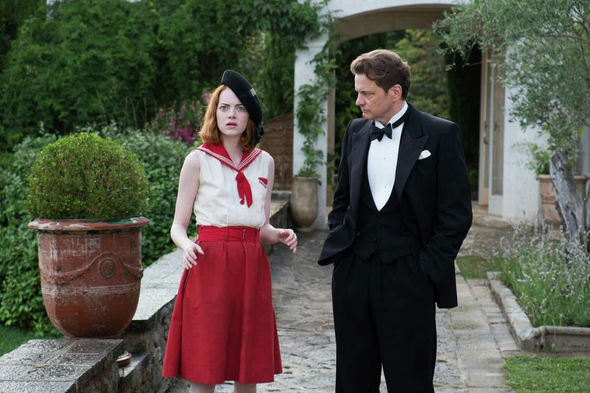 """This photo released by courtesy of Sony Pictures Classics shows Emma Stone, left, as Sophie and Colin Firth as Stanley, in a scene from the film, """"Magic in the Moonlight,"""" directed by Woody Allen. (AP Photo/Sony Pictures Classics, Jack English)"""
